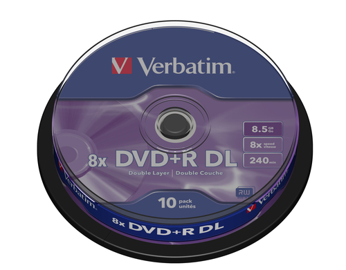 VERBATIM - 8.5GB DVD+R (8X) - DOUBLE LAYER MATT SILVER SPINDLE (PACK OF 10) - WSL