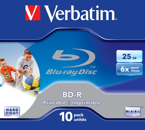 VERBATIM - 25GB BLU RAY BD-R SL (6X) WIDE PRINTABLE JEWEL CASE (PACK OF 10) - WSL