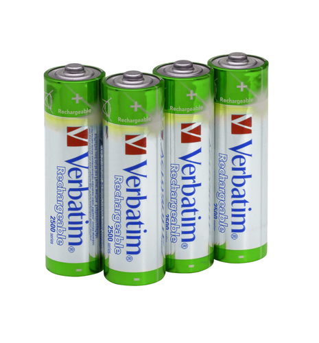 VERBATIM - AA RECHARGEABLE BATTERIES (4 BATTERIES PER PACK)
