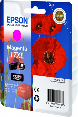 EPSON - INK - 17XL SERIES - MAGENTA - POPPY CLARIA HOME INK