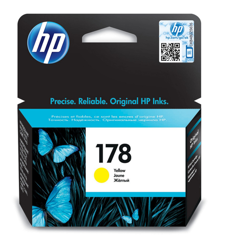 HP # 178 YELLOW INK CARTRIDGE WITH VIVERA INK - OfficeJet B8553 C5383 Photosmart...