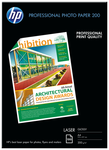 HP PROFESSIONAL GLOSSY LASER PHOTO PAPER 200 G/M-100 SHT/A4/210 X 297 MM