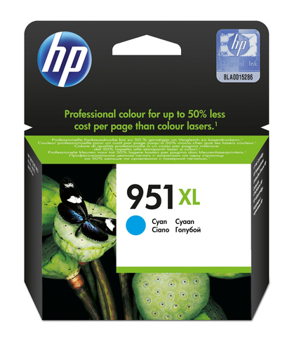 HP # 951XL CYAN OFFICEJET INK CARTRIDGE - OfficeJet Pro 8100 ePrinter series Off...