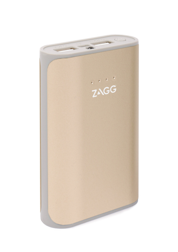 Zagg Ignition 6 Power Bank 6000 MAh Capacity with Flash Light - Output voltage 5v, Dual USB outputs (5V/2.1A and 5V/1A), Built-in flash light - Gold, Retail Box , 1 year Limited Warranty