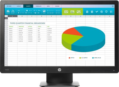 HP ProDisplay P203 20-inch monitor - Aspect ratio 16:9 res 1600x900 Ports 1x DP ...